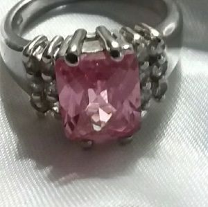 Faux silver and pink gemstone ring